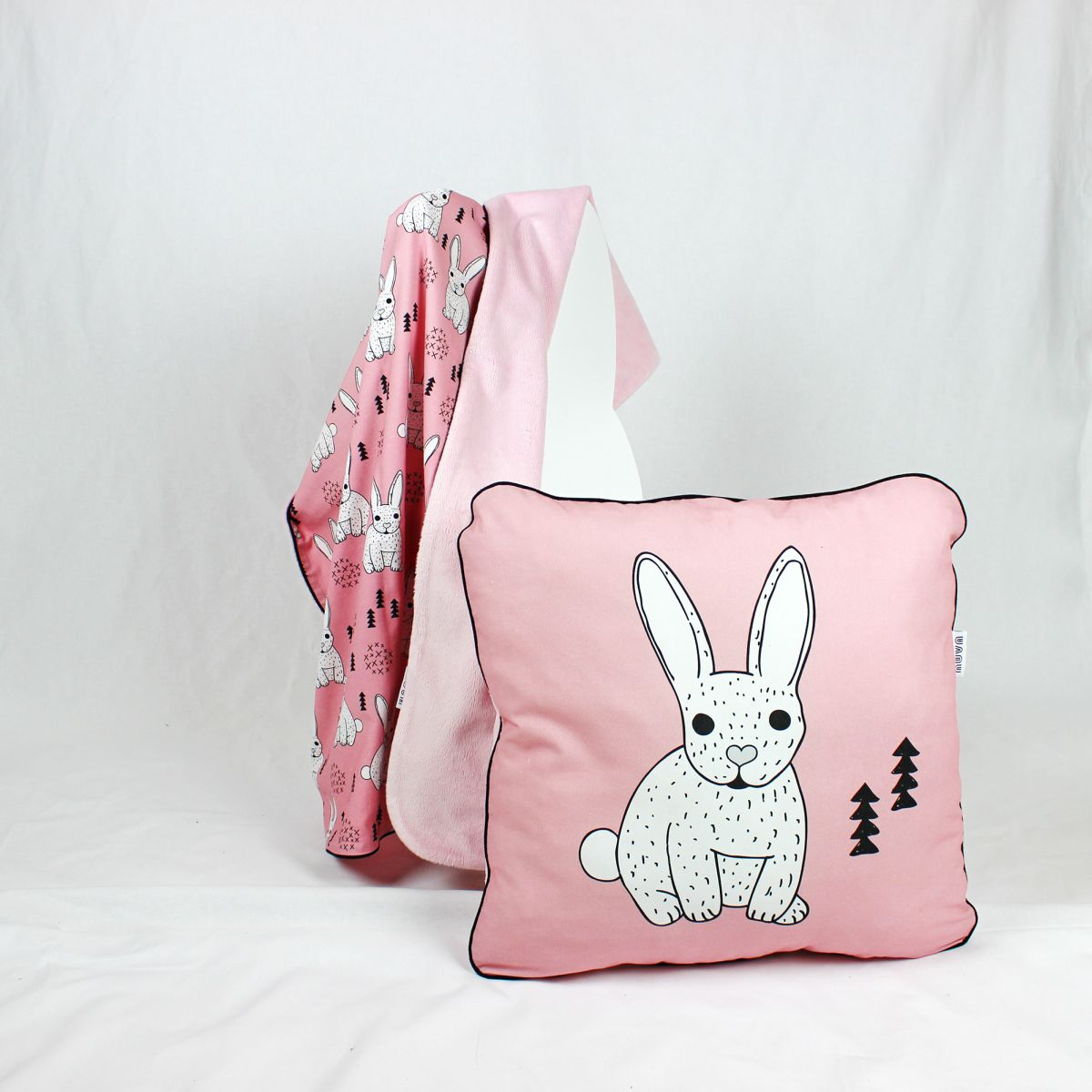 kocyk i poduszka królik róż