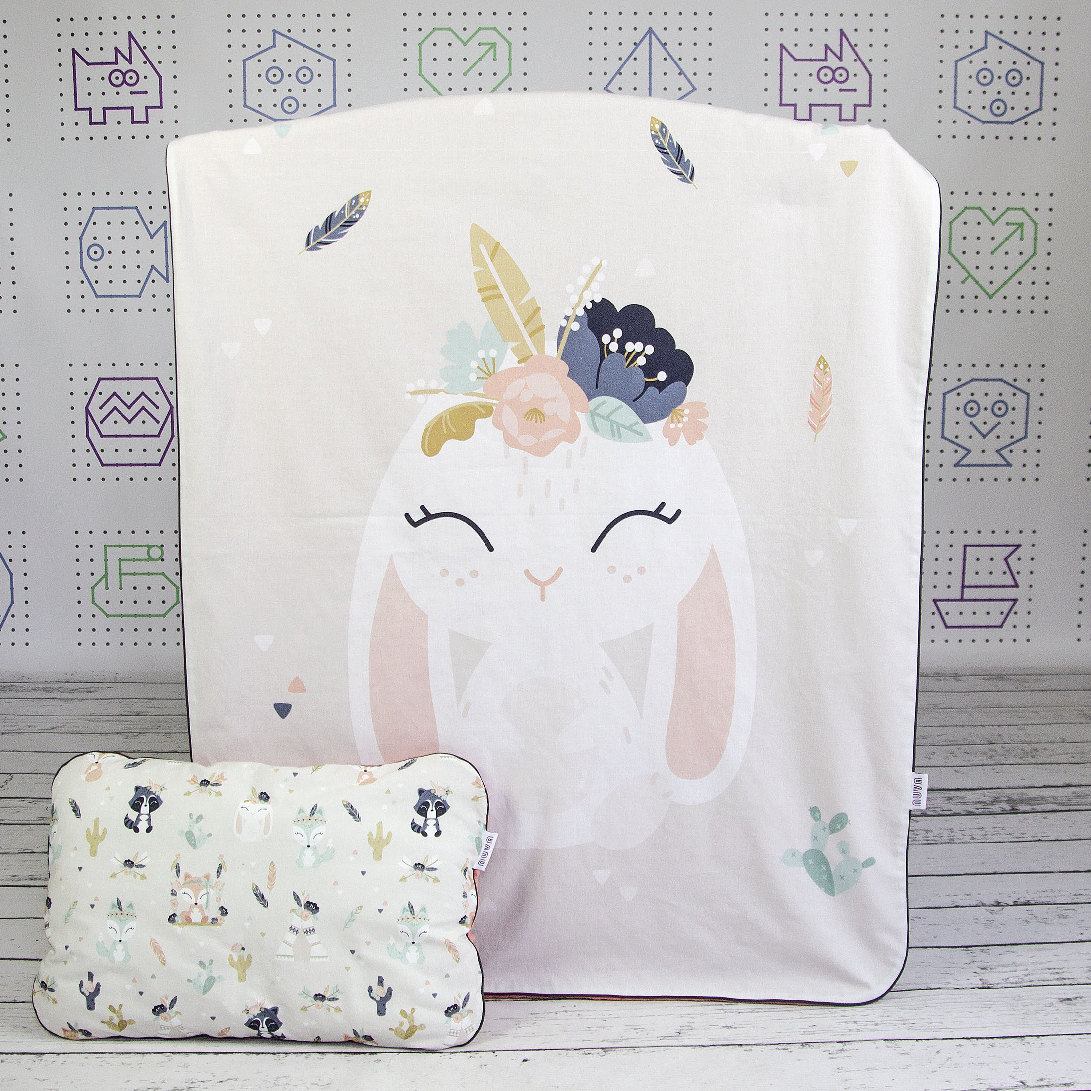 blanket with bunny print
